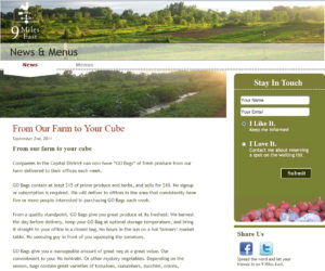 screenshot tof website from 9 miles east farm