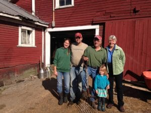 Asia, David, Bob, Ella, and Beth Kennett represent three generations of dairy farmers at Liberty Hill Farm in Rochester, Vermont – a popular agritourism destination. Photo by Rachel Carter.
