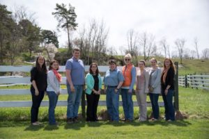 Members of the team (from L to R): Lindsay Ferlito, Kim Morrill, Mike Hunter, Tatum Langworthy, Kitty O'Neil, Betsy Hodge, Kelsey O'Shea, Anika Zuber and Lindsey Pashow.