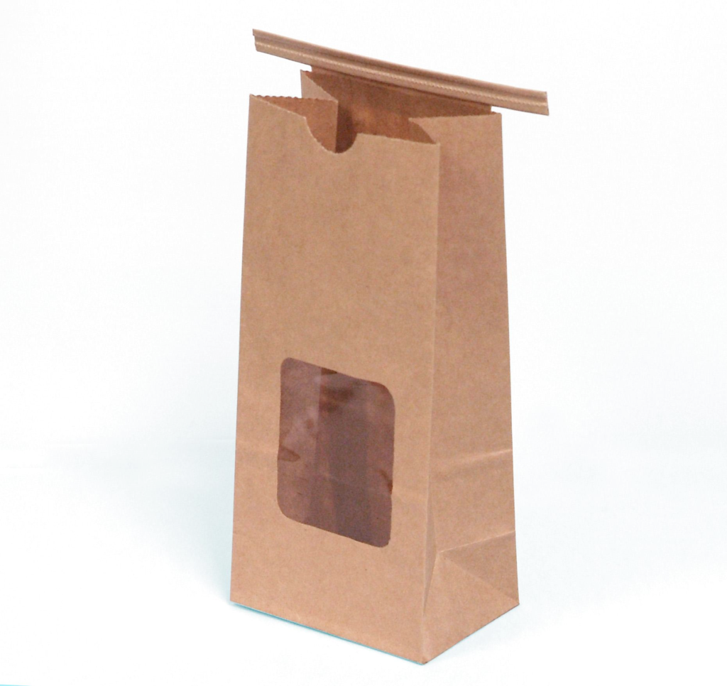 A paper bag, similar to those used for coffeebeans.