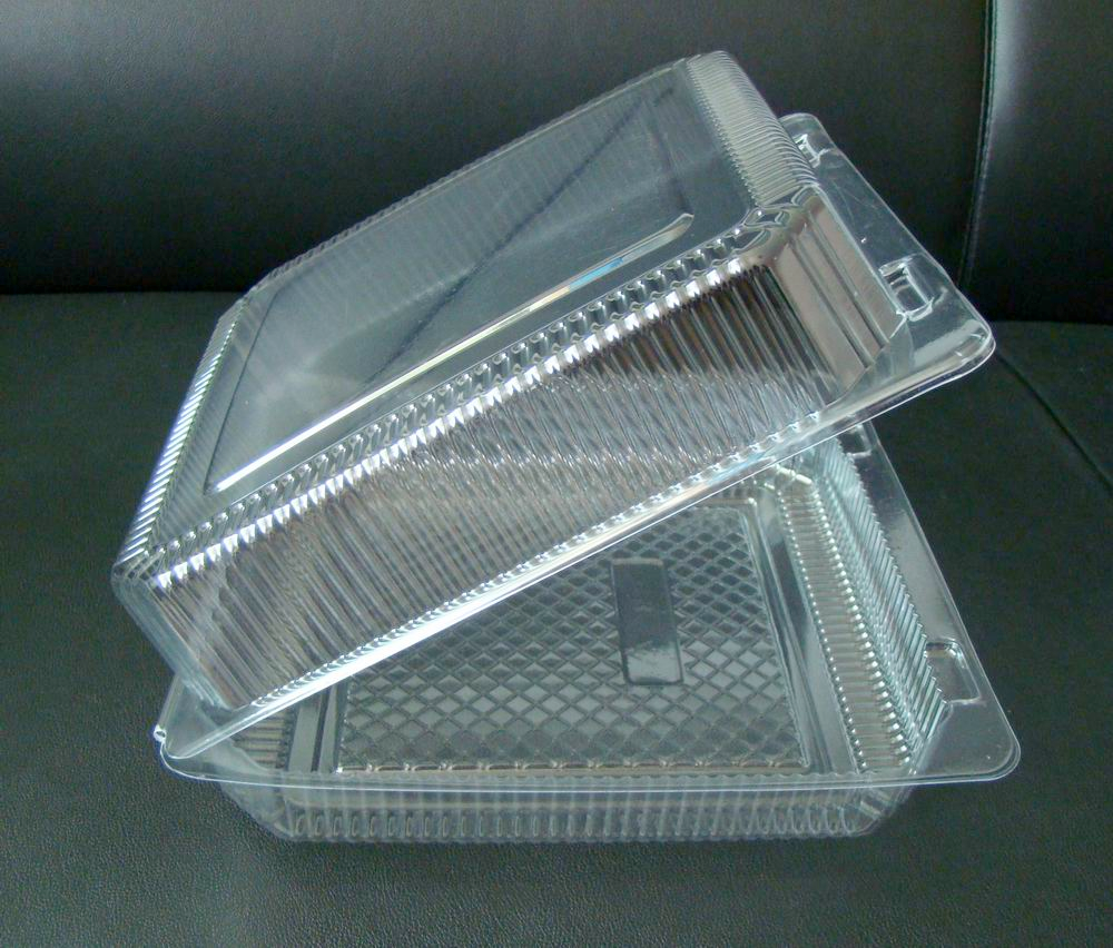 A plastic clamshell container