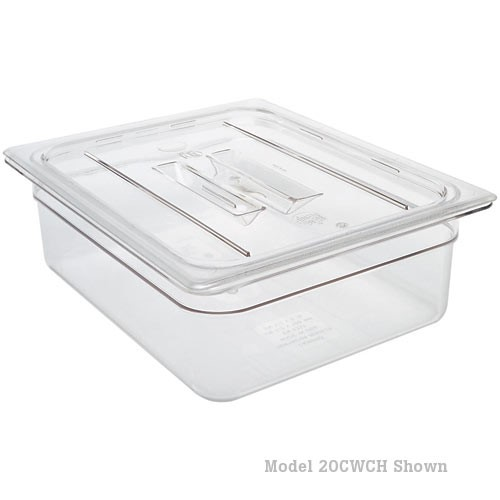 A plastic storage container with a flat lid placed on top.