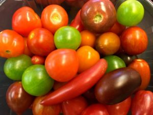 Green jaded tomatoes in cherry tomato medley
