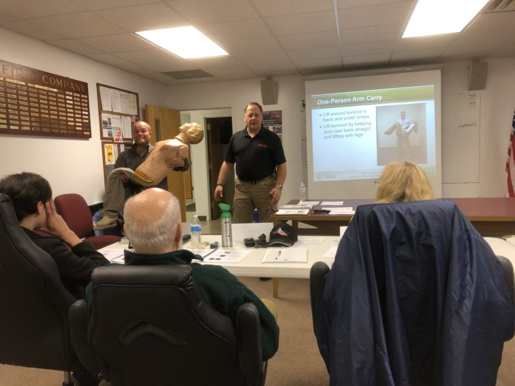Army veteran, Martin (Marty) Kopcho, trains local community members how to support disaster response for incidents that may impact their area. Trainings can include basic disaster response skills, such as fire safety, light search and rescue, first aid, and most importantly team organization.