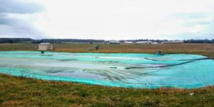 A manure cover and flare at a farm in Kings Ferry, New York.