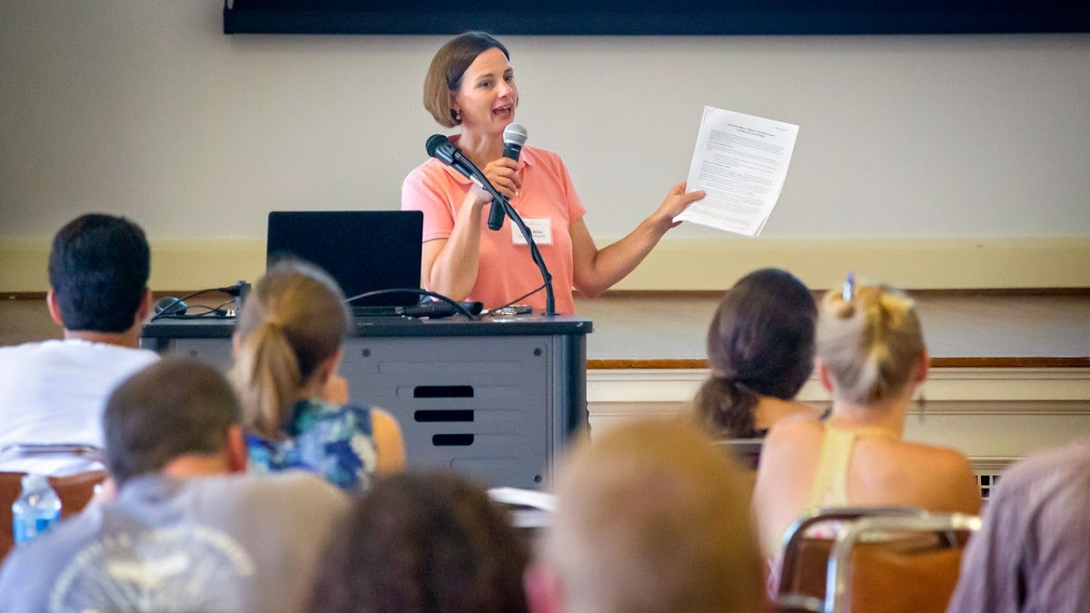 Elizabeth Bihn, director of the Produce Safety Alliance, conducts a food safety training.